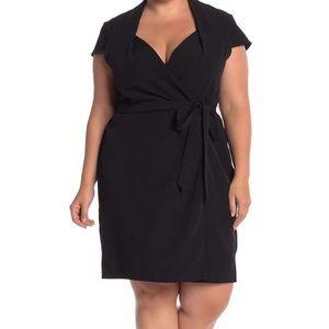 NWT Nordstrom Sharagano Black Tie Wrap Dress
